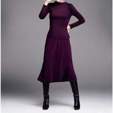 イタリア糸 「ウルトラファインメリノ」 ニット ラップ風 プリーツスカート(サイズ3L)