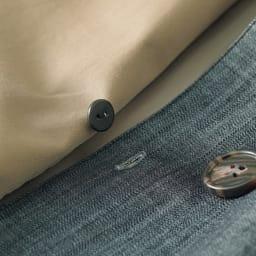 異素材使い 重ね着風 2WAYコート デニム調前身頃はボタンで取り外し可