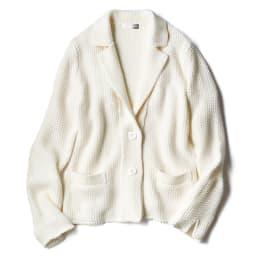 鹿の子ニット テーラードジャケット (ア)オフホワイト