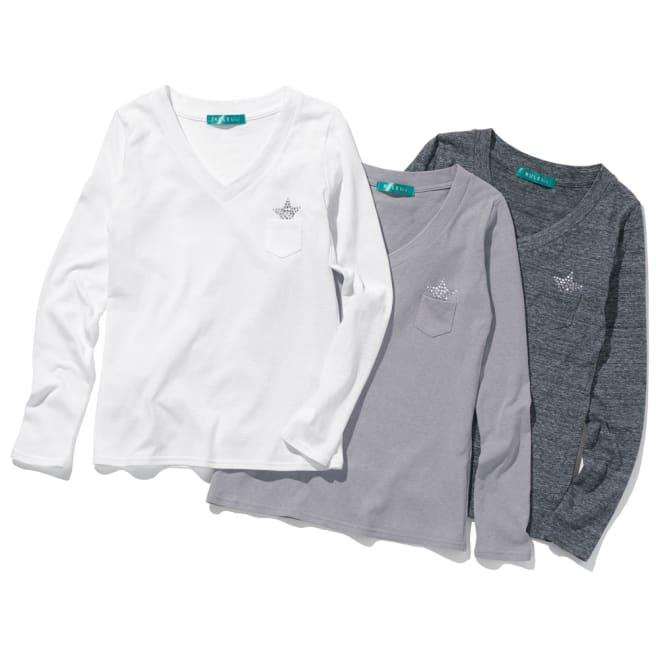 リサイクルコットン きらきらストーン付き 長そでTシャツ 左から(ア)ホワイト (イ)グレー (ウ)チャコール
