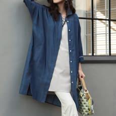 (L-3L) ライトデニム ドルマンスリーブチュニックシャツ(大きいサイズ)