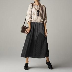 ドット×ストライプ  切り替えスカート 写真
