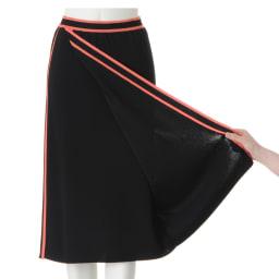 配色ライン ラップ風ニットスカート ラップ風デザイン
