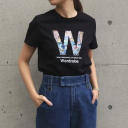 WORDROBE/ワードローブ プリントTシャツ (エ)ブラック(Wロゴ)(web限定色) 着用例