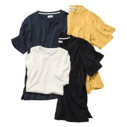 「i cotoni di ALBINI」 超長綿ドレスTシャツシリーズ クルーネック 左上から時計回りに(オ)ネイビー (カ)イエロー(web限定色) 、ブラック 、ホワイト ※今回ブラック、ホワイトの販売はございません。参考画像です。