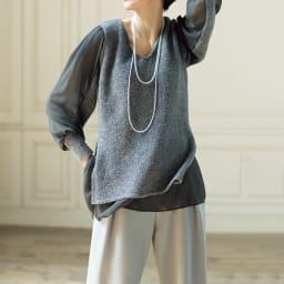 (股下丈74cm)トリアセ混 二重織り ドレープ ワイドパンツ コーディネート例