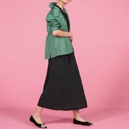 ウォッシュ加工 グリーンシャツジャケット 刺繍ポインテッドを効かせたシンプルコーディネート  コーディネート例