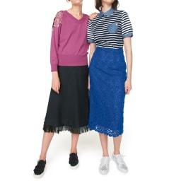 フリンジニットスカート (左)コーディネート例