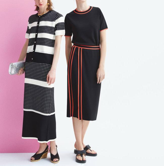 配色ライン ラップ風ニットスカート (右)配色ライン ラップ風ニットスカート コーディネート例