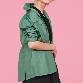 ウォッシュ加工 グリーンシャツジャケット 写真