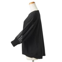 袖フロッキー ドット シフォン使い7分袖ニット(サイズLL) SIDE