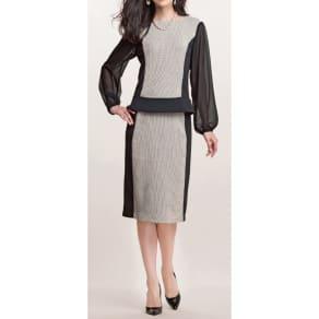 (L)イタリア製生地 からみ織り×ポンチスカート 写真