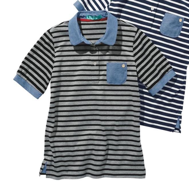 異素材を組み合わせた ボーダーポロシャツ ※今回は手前のお色グレー×ブラックのみの販売になります。