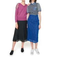 立体的な素材感の レーススカート(サイズS)