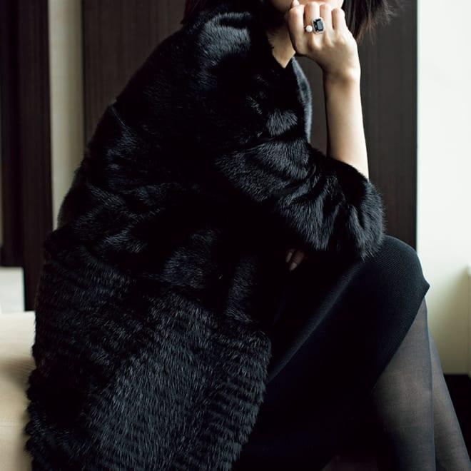 SAGA ブラックミンクコート コーディネート例