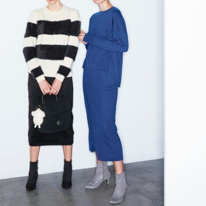 ミラノリブニット ロングタイトスカート (右)ミラノリブニット ロングタイトスカート コーディネート例