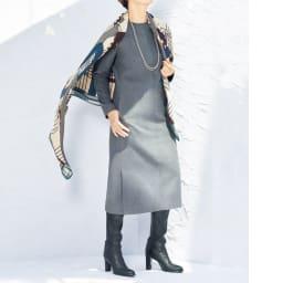 ノバラ社 イタリア素材 シルク起毛仕上げ ワンピース コーディネート例