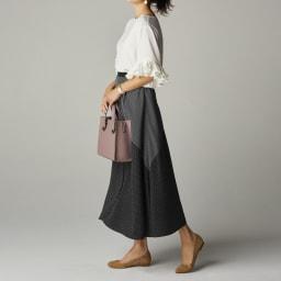 ドット×ストライプ  切り替えスカート コーディネート例