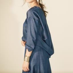 リネン混 シャンブレーシリーズ 12枚接ぎフレアスカート【2点以上で10%OFF】 コーディネート例