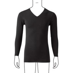 YGインナー Vネック 9分袖 2枚組 (イ)ブラック 着用イメージ