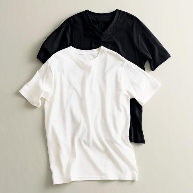 2枚組Tシャツ Vネック(日本製) 同色2枚組 上からブラック、ホワイト ※今回ホワイトの販売はございません。参考画像です。