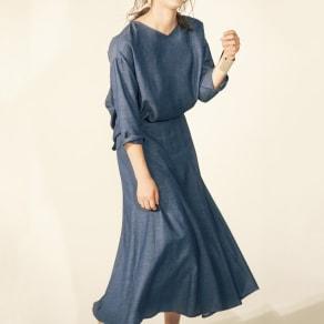 リネン混 シャンブレーシリーズ 12枚接ぎフレアスカート【2点以上で10%OFF】 写真