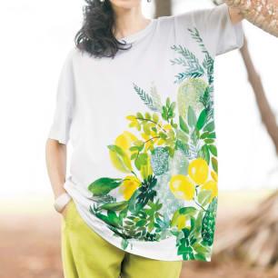 トロピカルプリント ビッグTシャツ