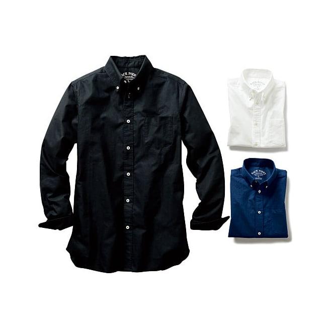 (3L・5L)オックスフォード ボタンダウンシャツ (長袖) 左から (イ)ブラック 右上(ア)ホワイト、右下(イ)ネイビー系