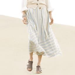 イタリア素材 先染め ボーダー切り替え ロングスカート 着用例