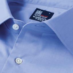 100番双糸 GIZAコットン ボタンダウン ワイシャツ(サイズ37-82) ネクタイをしない時にも襟が綺麗に立つよう台襟の角度を何度も調整しました。 ※写真はワイドカラータイプです。今回こちらのお色の販売はございません。