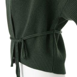 フォックスファー付き 片畦編みニット カーディガン ベルトは取り外し可。