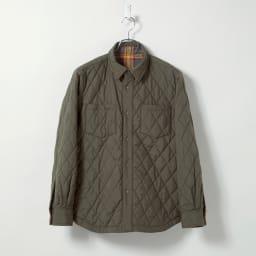 リバーシブル 中綿シャツジャケット オレンジチェック(キルト面) Reversible