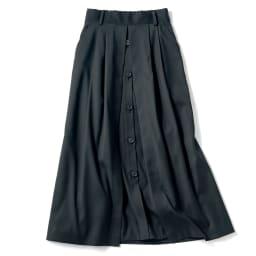 ボタンデザイン フレアースカート (イ)ブラック