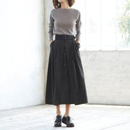 ボタンデザイン フレアースカート (イ)ブラック コーディネート例