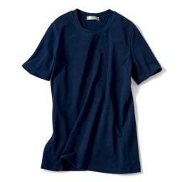 洗えるハイゲージコットンベア天竺シリーズ クルーネック 半袖 Tシャツ【2点以上で10%OFF】 (エ)ネイビー
