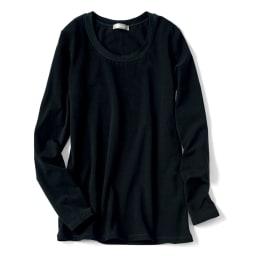 洗えるハイゲージコットンベア天竺シリーズ クルーネック 半袖 Tシャツ【2点以上で10%OFF】 (ウ)ブラック ※こちらの画像は同シリーズのラウンドネック長袖タイプとなります。色味をご参照ください。