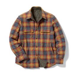 リバーシブル 中綿シャツジャケット オレンジチェック(チェック面) Reversible