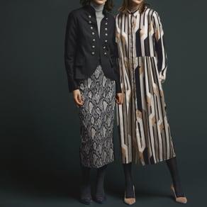 ELEONORA AMADEI/エレオノーラアマダイ スネーク柄 ストレッチタイトスカート(イタリア製) 写真