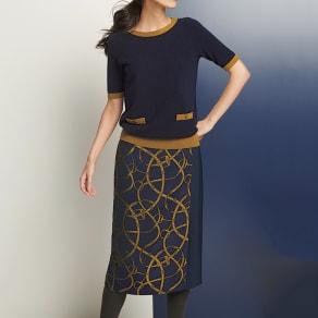 フランス生地使い ベルト柄 ラップ風スカート 写真