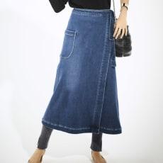 デニムボンディングあったか巻きスカート