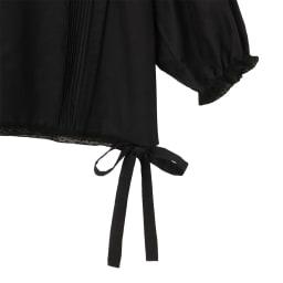 コットンシルク レース&ピンタック ブラウス 裾部分