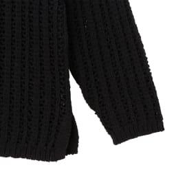 コットン テープヤーン 透かし柄 ニット 袖口と裾部分