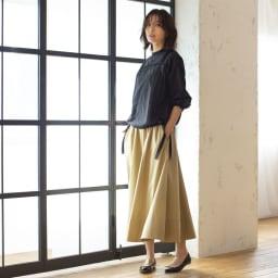 裾切替 ロングフレアースカート (ウ)ベージュ  H163 着用サイズ:M