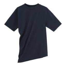 インド超長綿 テクノラマ ドレープ Tシャツ (イ)ネイビー 着用すると、繊細なドレープが左胸から右ウエストに向けて流れます