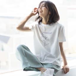 コットン天竺 モノトーン刺繍 Tシャツ オフホワイト H163 着用サイズ:S~M