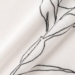 コットン天竺 モノトーン刺繍 Tシャツ 生地アップ