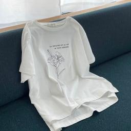 コットン天竺 モノトーン刺繍 Tシャツ