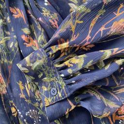 フランス素材 楊柳 花柄プリント ブラウス 袖口