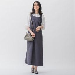 綿麻 シャンブレー ツイル ジャンパースカート 生地アップ