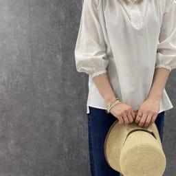 かぎ針使い コットン カフタン ブラウス オフホワイト H156 着用サイズ:S-M